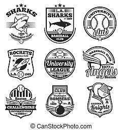 College athletic vector labels, logos, badges and emblems set. T-shirt design