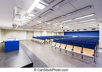 College auditorium in white and blue