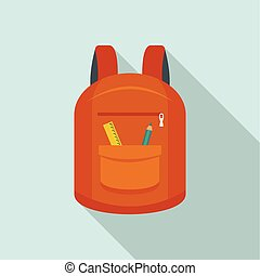 College backpack icon, flat style