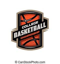 College basketball, sports logo emblem.