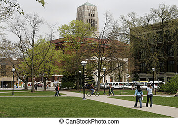 Students walk across the University of Michigan campus.