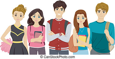 College Cliques - Illustration Featuring Students...