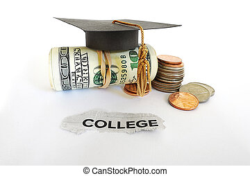 College costs - Graduation mortar board on cash with College...