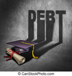 College Debt - College debt and student financial concept as...