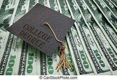 College Degree money - College Degree graduation cap on...