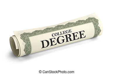 Rolled up College Diploma Scroll Isolated on White Background.