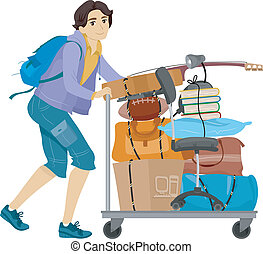 College Dorm Move - Illustration of a Male College Student...
