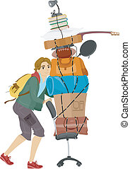 College Dorm Move - Illustration of a Male College Student...