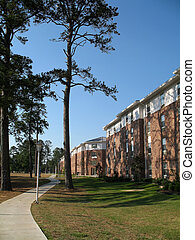 college dorm residence hall on university campus