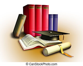 Diploma, some books and a college hat, education concept. Clipping path included to isolate subject from background. Digital illustration.