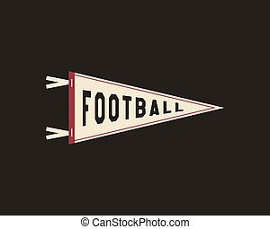 College Football Pennant Banner Icon. Sport flag, training camp emblem. University team label element. Vector sign