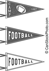 College Football Pennant Flags Set. Vector Football pendant Icons. University USA Sport flag, isolated. Training camp emblem. Soccer label element. Monochrome design template. Vector sign.
