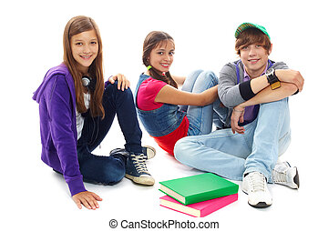 College friends - Three teenagers in casual clothes sitting ...
