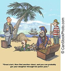 College Fund - Finance cartoon about a pirate saving for the...