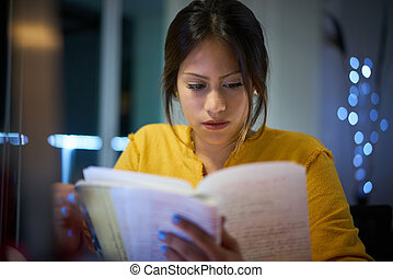 College Girl Student Preparing Exam At Night - Young woman...