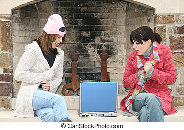 College Girls Outside with Laptop
