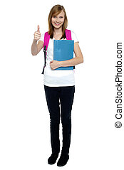 College going blonde showing thumbs up sign