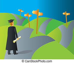 College Grad Career Paths - A college graduate stopping at a...