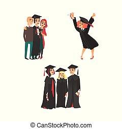 College graduates, happy girl, parents, classmates