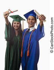 college graduates in cap and gown