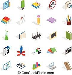 College house icons set, isometric style