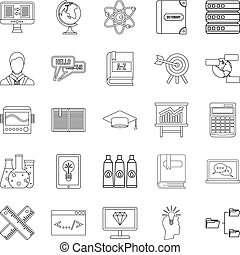 College icons set, outline style