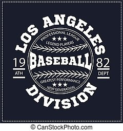 College Los angeles division sport baseball, t-shirt...