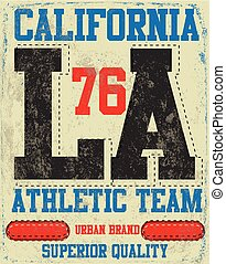 College Los Angeles typography, t-shirt graphics