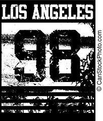 College Los Angeles typography; t-shirt graphics.