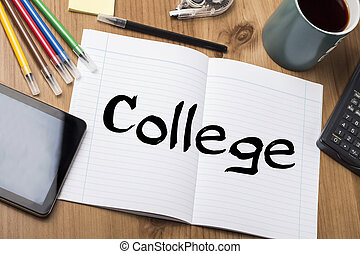 College - Note Pad With Text