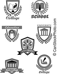 College or university and school vector icons set -...