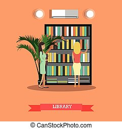 College or university library vector illustration in flat style