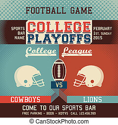 College playoffs football game sports event poster