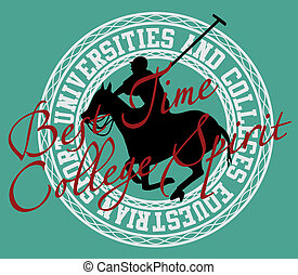 college polo player vector art