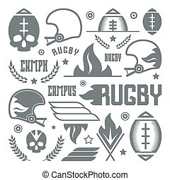College rugby team badges in retro style. Graphic design for...