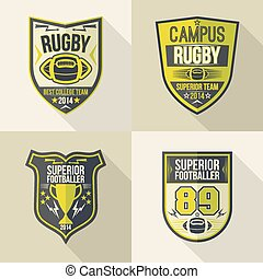 College rugby team emblems - Set of emblems rugby team in...