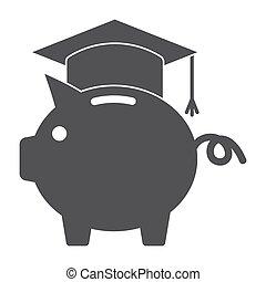529 college savings plan concept with piggy bank wearing a graduation cap