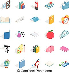 College school house icons set, isometric style