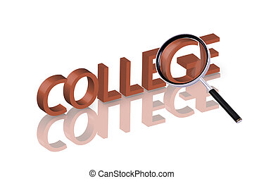 college search - Magnifying glass enlarging part of red 3D...