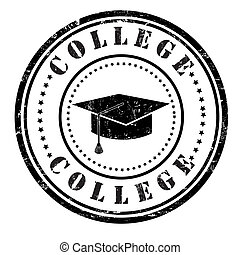 College grunge rubber stamp on white, vector illustration
