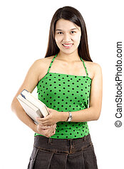 College student - A pretty college student carrying books (...