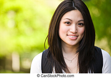 College student - A shot of a beautiful asian college...