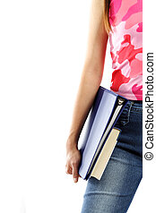 College student - A young college student carrying books...
