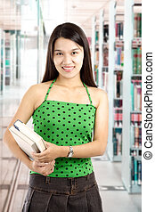 College student at the library