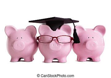 College student graduate graduation concept, education success, teaching, graduating, piggybank with glasses