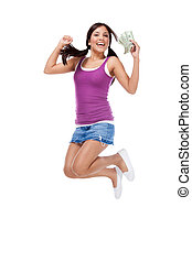 College student Hispanic teen with womey jumping