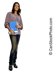 College student - Full body view of young teacher or college...