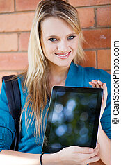 college student presenting tablet computer