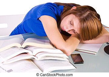 College Student Sleeping on her Desk