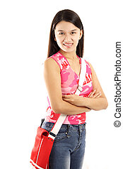 College student - A beautiful young college student carrying...